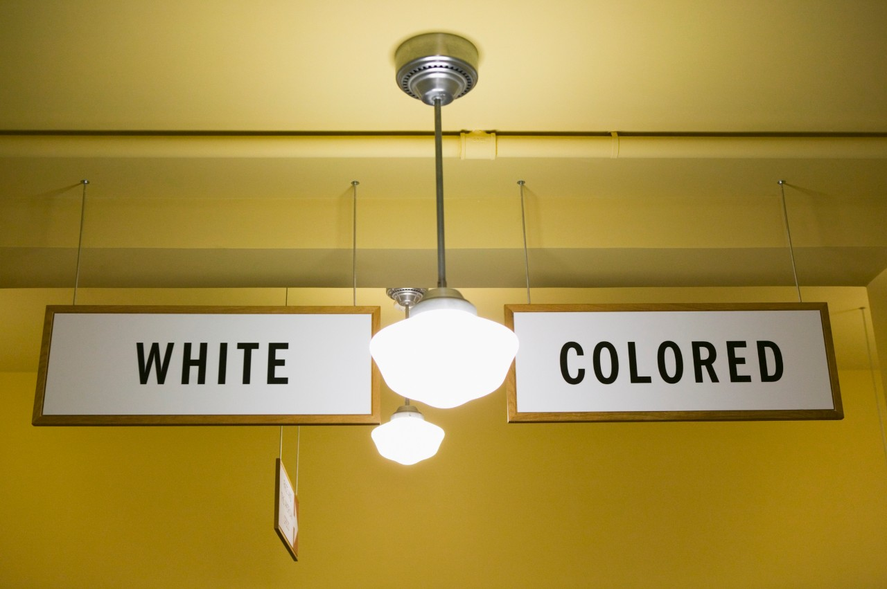 """""""White"""" and """"Colored"""" segregation signs in Topeka, Kansas, USA - stock photo"""