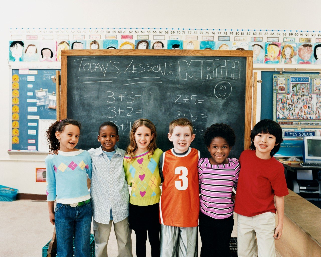 Children of many races in math class